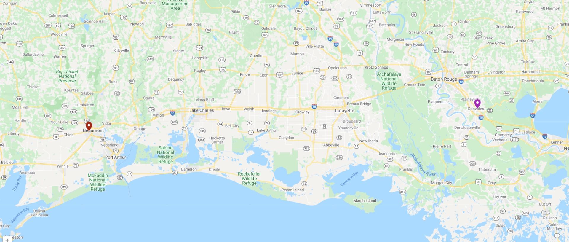 map of the Gulf Coast of Florida, Alabama, Mississippi, Louisiana, and Texas